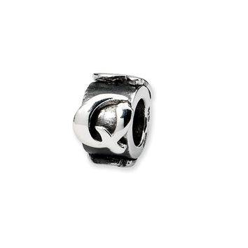 Sterling Silver Letter Q, Alphabet Bead Charm