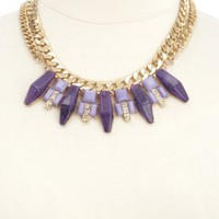Double Chain Stone Spike Collar Necklace by Charlotte Russe - Gold