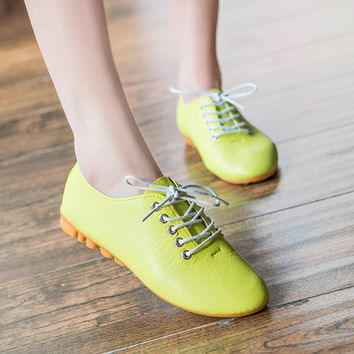 Candy Color Leather Ballet Flats Shoes