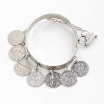 Antique Silver Love Token Coin Charm Bracelet - Victorian 1880s Engraved Dime Pendant Heart Padlock Rare Adjustable Bangle Jewelry