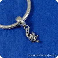 Tiny Turtle European Dangle Bead Charm - Sterling Silver Turtle Charm for European Bracelet