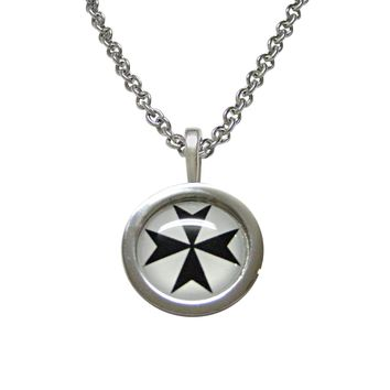 Bordered Maltese Cross Pendant Necklace