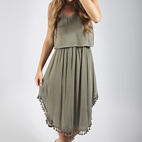 tango with me tassel dress - olive