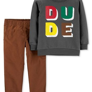 Carter's Baby Boys 2-Pc. Cotton Sweatshirt & Pants Set Kids - Sets & Outfits - Macy's
