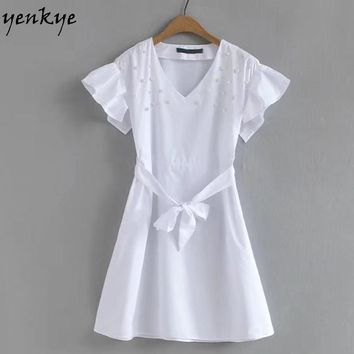 Fashion Women Elegant White Beading Dress V Neck Short Sleeve Poplin With Belt Mini Dresses