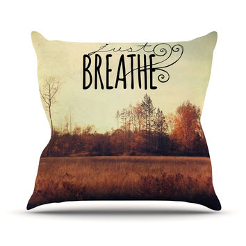 "Sylvia Cook ""Just Breathe"" Brown Tan Outdoor Throw Pillow"