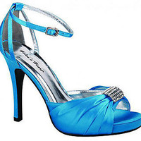Prom Shoes, High Heels, Sexy Shoes, Formal Dress Shoes- PromGirl: Turquoise Blue Satin Formal 4 Heel