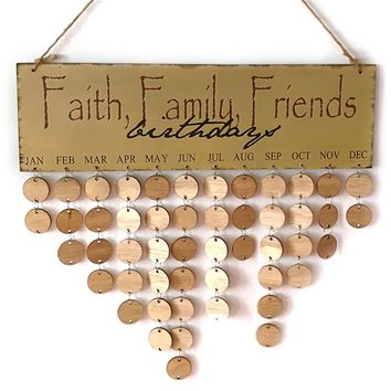 Faith Family Friend DIY Wooden Wall Hanging Decor Birthday Calendar Board Birthday Sign Special Dates Planner Board Home Decor