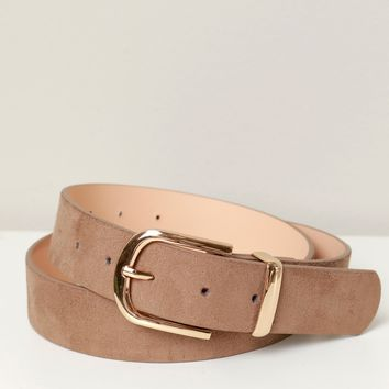 Suede Buckle Belt Taupe