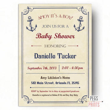 Vintage Nautical Baby Shower Invitation - Printable Anchor Baby Shower Invitations - Anchor Baby Shower Invites - Ahoy Its a Boy