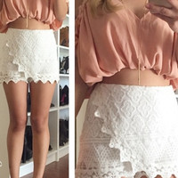 Lace Wrapped Skort SKirt Shorts