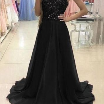 New Black Patchwork Sequin Draped Sleeveless Homecoming Party Elegant Maxi Dress