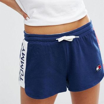 Tommy Hilfiger Jeans Women Logo Print Elastic Leisure Sports Shorts