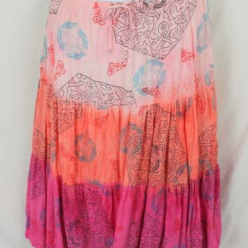 Womens Tiered Linen Skirt size L by L F Tye Dye Pink Orange Floral Boho Hippy