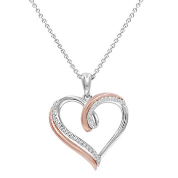 1/10ct TW Diamond Heart Pendant - Necklace in Two Tone Sterling Silver