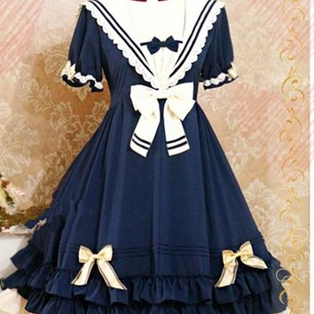 Women's LOLITA Bowknot Princess Sweet Short Sleeve Gril Pleated Sailor Costume