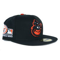 New Era 59Fifty Baltimore Orioles Grey Bottom Fitted  In Black