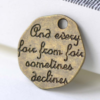 Irregular Engraved Sayings Pendants Antique Bronze English Words Charms 19x20mm Set of 10 A8052