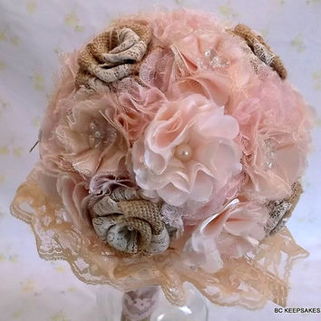 Custom Shabby Chic Pretty in Pink  Burlap Lace Bouquet