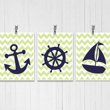 Nautical chevron decor Boys room Giclee poster Ships wheel art Anchor poster Sailboat print Navy blue and lime Modern nursery Bold decor