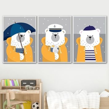 Cartoon Navy Bear Rain Umbrella Nordic Posters And Prints Wall Art Canvas Painting Decoration Pictures For Baby Kids Room Decor