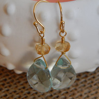 Aqua quartz, lemon quartz, quartz briolettes, aqua earrings, semiprecious, yellow gemstone, aqua gemstone, boho chic, trendy