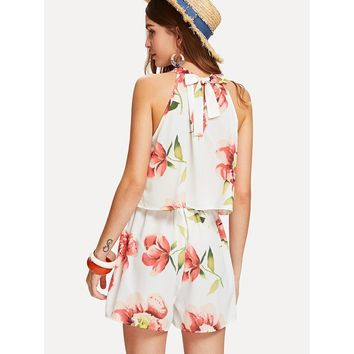 Florals Halter Top With Box Pleated Shorts