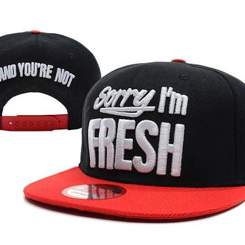 Sorry I'm Fresh Snapback New Era Baseball Caps Black-Red