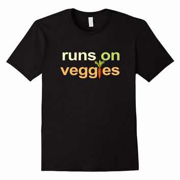 100% Cotton T-Shirts Men Runs on Veggies T-shirt - Vegan Cool New T Shirts Unisex Funny Tops Tee