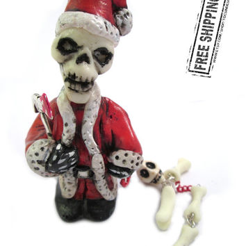 Creepy Santa Claus figurine psychobilly horror art zombie decor the misfits skeleton weird xmas ornament scary evil santa gothic christmas