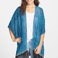 Women's Two by Vince Camuto 'Batik Eternity' Fringed Chiffon Kimono