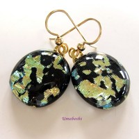Dappled Gold and Black Dichroic Glass Cabochon Earrings - Gold Filled