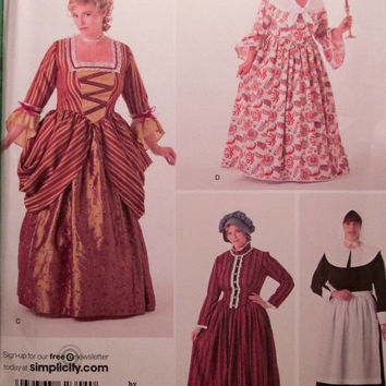 SALE Uncut Simplicity Sewing Pattern, 2354! 18W-30W Plus Size Historical Dresses/Reenactment Costumes/Medieval Dresses/Pilgrim Costume/Schew