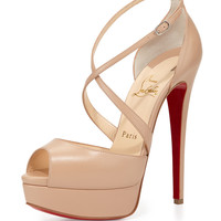 Cross Me Platform Red Sole Sandal, Nude - Christian Louboutin