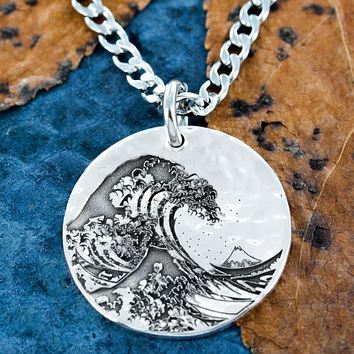 Great Wave Off Kanagawa Silver Necklace by Namecoins