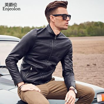 cool black Motorcycle Leather PU Jackets stand collar Men pocket zipper coat fashion winter clothes
