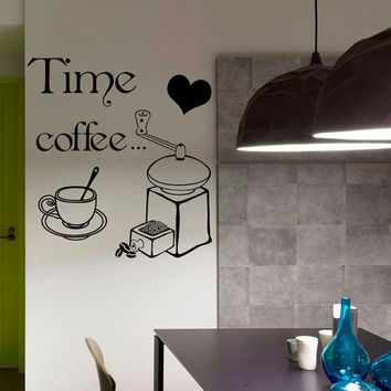 Coffee Decals Cafe Decals Kitchen Wall Decal  Coffee  Time Cup Coffee Beans Vinyl Sticker Wall Decor Home Interior Design U318