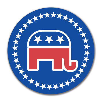 Election 2016 Republican Elephant 4x4 Round Sticker