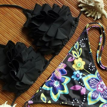 Black Halter Neck Floral Print Swimwear
