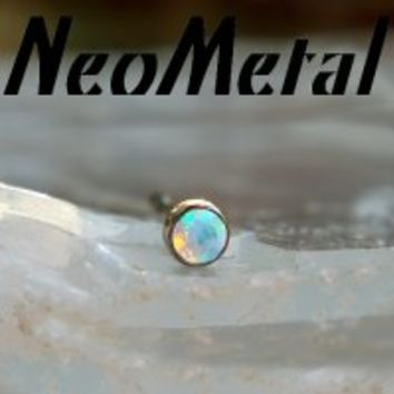 16 Gauge 16g NeoMetal Threadless Titanium Bezel-set Faceted White Opal Gem End 2.5mm Press-fit [XGEM16-2.5mmFacetWhiteOpal] - $13.00 : Diablo Body Jewelry, The Art of High Quality
