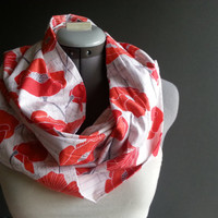 Red Poppies Flower Cotton Infinity Scarf