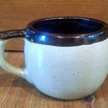 Vintage Handmade Stoneware Coffee Mug, Tan and Brown Pottery Cup, HeavyMug