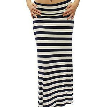 Shop Black And White Striped Maxi Skirt on Wanelo