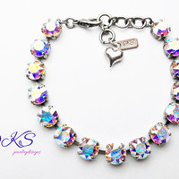 Crystal AB, Swarovski 8mm Bracelet, Rainbow, Adjustable, Antique Silver, Jewelry Gift, DKSJewelrydesigns, FREE SHIPPING