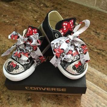 DCCK8NT minnie inspired blinged converse