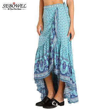 SEBOWEL 2017 Blue Gypsy Style Print Plus Size Maxi Skirt Boho High Low Summer Casual Long Skirt A Line Asymmetric Bohemian Skirt