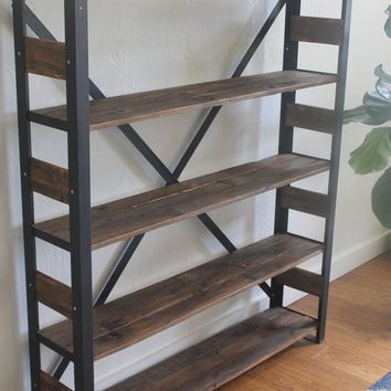 "Reclaimed Wood Bookcase, Storage Shelves, Book Shelf - ""The Watson"", Modern, Industrial, Farmhouse, Rustic, Angle Iron"