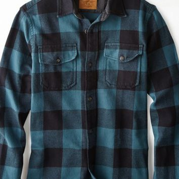 AEO 's Rugged Flannel Workwear Shirt (Blue)