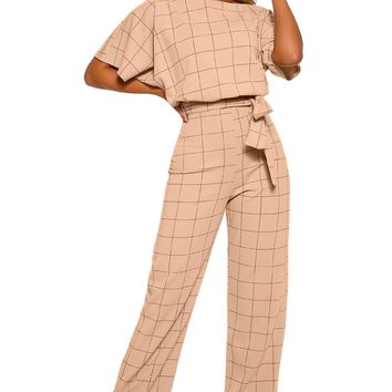Apricot Boat Neck Short Sleeve Checked Belted Wide Leg Jumpsuit