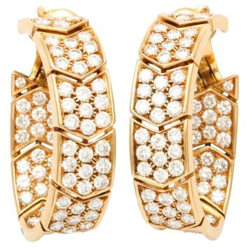 Cartier Yellow Gold Diamonds Hoop Earrings